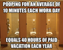 Pooping for an average of 10 minutes each work day