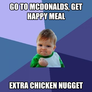 go to mcdonalds, get happy meal