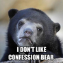 confession bear irony